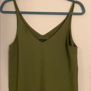 Olive green v neck silk tank